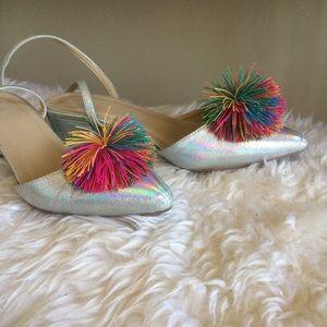 ASOS pompom metallic heels
